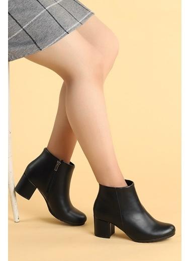 Ayakland Ayakland 520 Cilt 6 Cm Topuk Termo Taban Bayan Bot Ayakkabı Siyah
